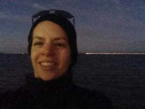 At the starting area--brrr!  Pacific behind me :)